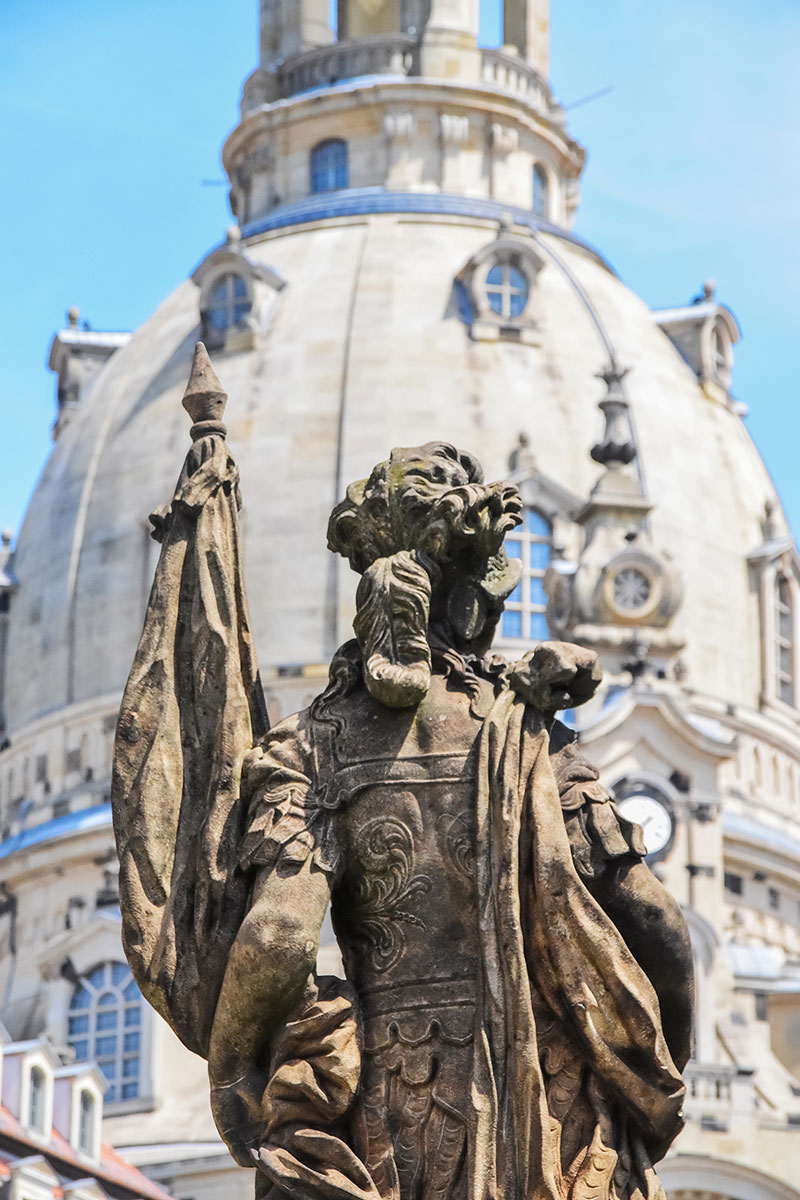 statue and Dresden Cathedral dome