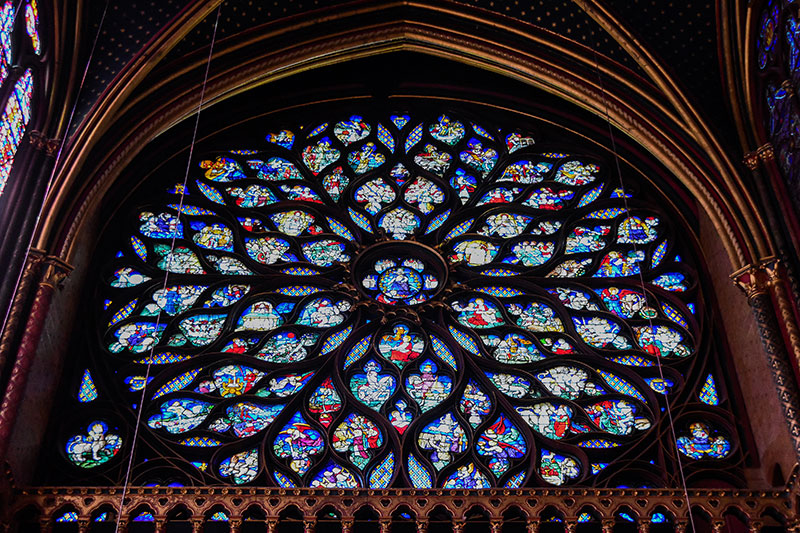 Figure 38 The Western Rose Window In Upper Chapel Of Sainte Chapelle It Is 9 Metres Diameter And Composed About 89 Panels