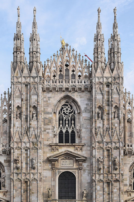 Blog detail 33 details of the upper part of the front faade of milan cathedral to the top one will get a hint of the famous madonnina the statue of mary that fandeluxe Choice Image