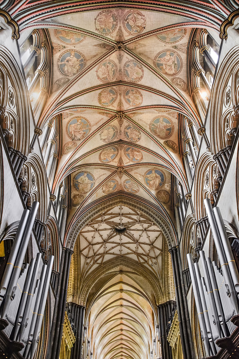 3: Decorated Vaulted Ceiling In Salisbury Cathedral Showing Three Different  Patterns And Design.