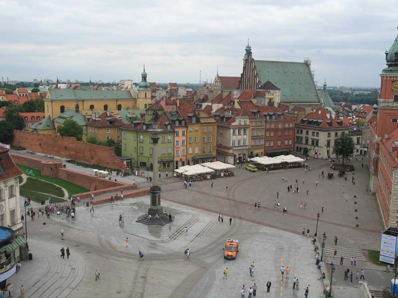 View of the Old Town of Warsaw, Poland, showing the central market square